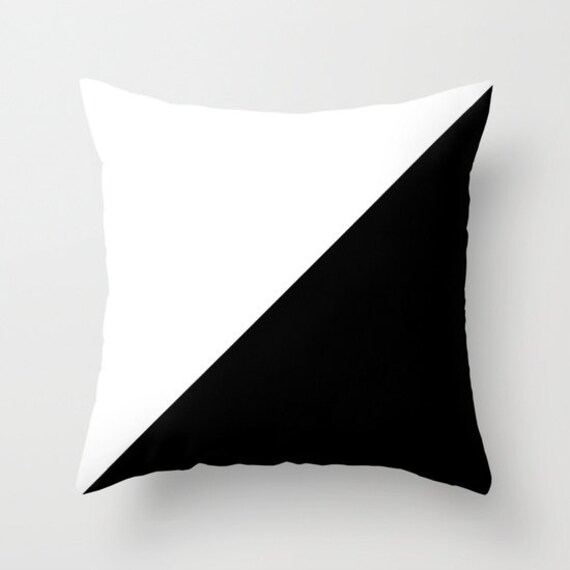 Black White Throw Pillow, Decorative Pillow Cover, Black White Cushion, Graphic Design, Modern Decor, Unique Pillow, Contemporary Decor