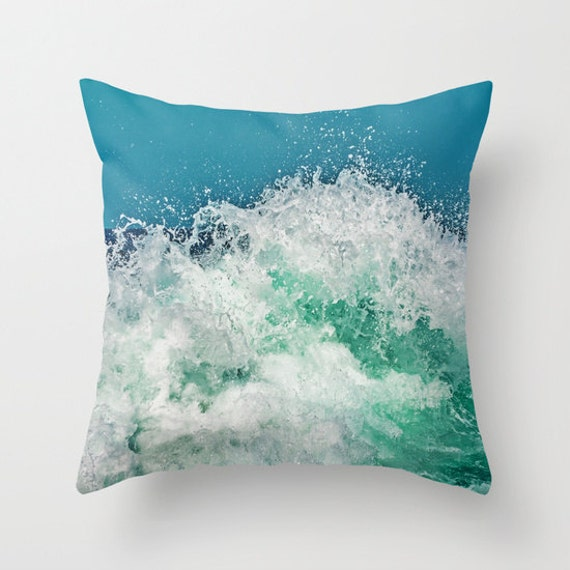 Ocean Throw Pillow, Decorative, Nature Cushion, Wedding Gift, Nautical Pillow, Surf, Beach, water, splash, tide, wave, office, dorm, yacht