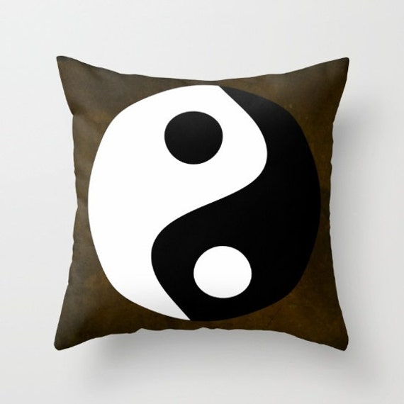 Yin and Yang Throw Pillow, Zen, Buddhism Decor, Chinese Symbol, Art Decor, Symbolism Decorative Pillow, Cushion, Office, Spirit, Mind, Dorm