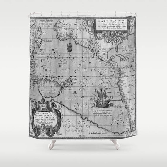 Old World Map Print Shower Curtain, Vintage World Map Shower Curtain, Bathroom, Ancient World Map Home Decor, Vintage Map Decor, Geography