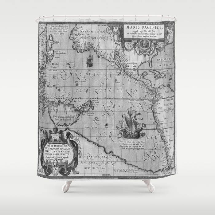 Old World Map Print Shower Curtain Vintage