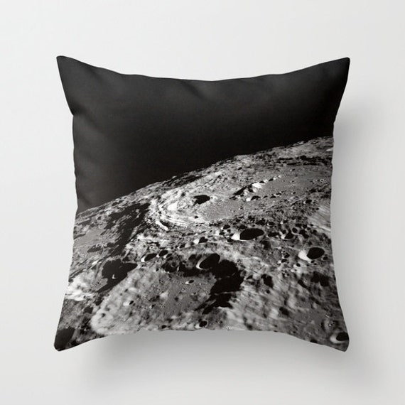 Moon Throw Pillow, Lunar Pillow, Craters Pillow, Moon Decor, Space Decorative Pillow, Nature Cushion, Black White Pillow, Dorm, Office