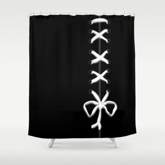 Black Laced Shower Curtain White Ribbon Print Bathroom Decor