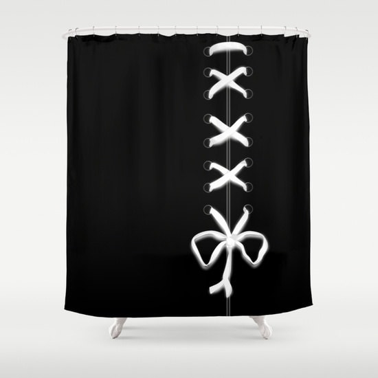 Black Laced Shower Curtain White Ribbon Print Bathroom Decor