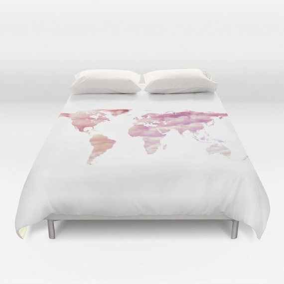Ocean Texture Map Duvet Cover, Cotton Candy Sky, World Map Bedding, bedroom blanket, Pink White Bedding, Dorm Bedding, Modern, Cloudy sky