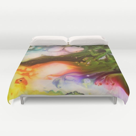 HAPPY DREAM Bedding, Abstract Duvet Cover, Vivid Colorful Decor, pour painting, Beach, Rainbow, Modern, Contemporary, Twin Queen King, Dorm