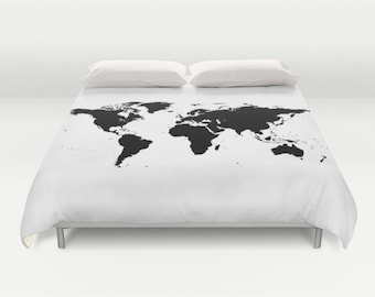 World Map Duvet Cover, Decorative bedding, World Map Bedding, bedroom blanket, White Black Bedding, Modern Bedding, Chalkboard Black Bedding