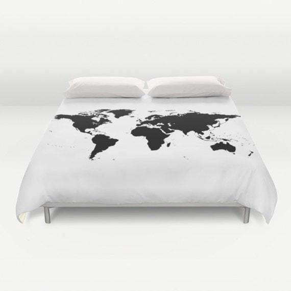 World Map Duvet Cover, Decorative bedding, World Map Bedding, bedroom blanket, White Black Bedding, Modern Bedding, Chalkboard Black Bedding
