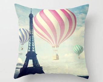 Hot Air Balloons Throw Pillow, Paris pillow, Decorative Pillow, Eiffel Tower Cushion, Whimsy, Office, Nursery, Whimsical, Dorm, Mood, Love