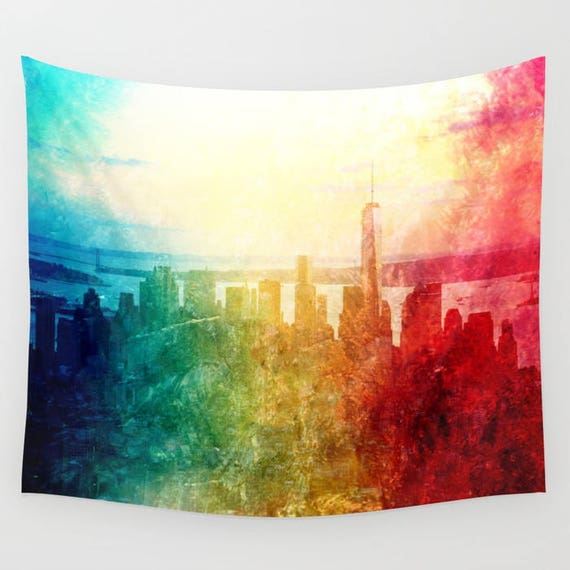 New York Tapestry, Manhattan Landscape, Office, Photography, urban, splash, wall art, modern, watercolor, dorm, colorful, trend, teen