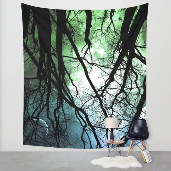 Moonlight Forest Wall Tapestry, Night Sky Home Decor, Nature, Office, Wall Tapestry, Home, Dorm,Whimsical Tree Branches,Woodland,Woods,Star
