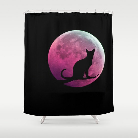 Cat And Full Moon Shower Curtain Black Pink Bathroom Home Decor Fantasy Halloween Dorm Goth