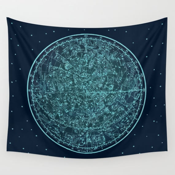 Zodiac Star Map Tapestry, Vintage Star Map Large Size Wall Art, Astronomy, Dorm, Office Decor, Beach Hut Decor,Astrology,Star Sign,Horoscope