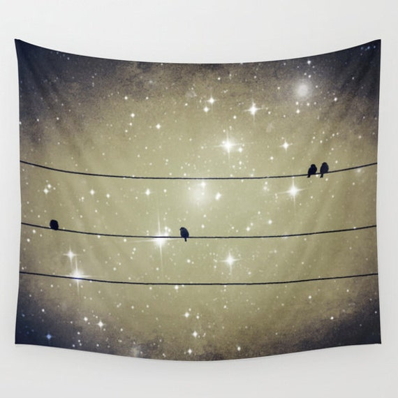 Dreams Reborn Wall Tapestry, Indoor, Outdoor, Dreamy Wall Art, Large Art, Birds on Line, office, Starry Night, Office, Love, Nature, dorm