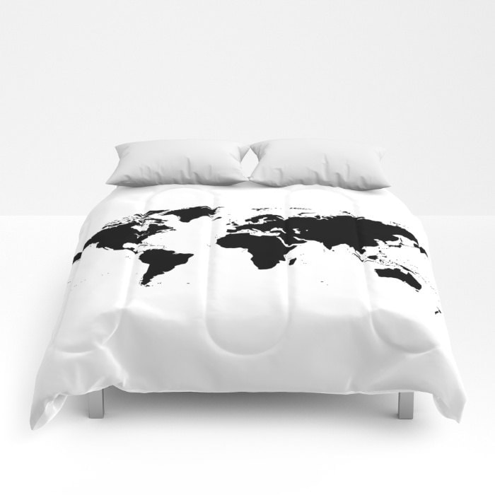 World map comforter decorative bedding world map bedding bedroom world map comforter decorative bedding world map bedding bedroom blanket white black bedding modern bedding chalkboard black bedding gumiabroncs Image collections