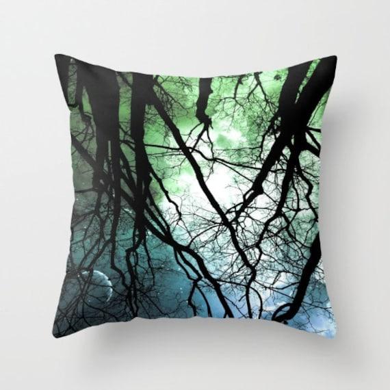 Moonlight Forest Throw Pillow, Starry Night, Dorm, Office, Pattern, Zen, Trees Pillow Case, Woods Pillow Case, Night Sky,Woodland,Moon,Stars