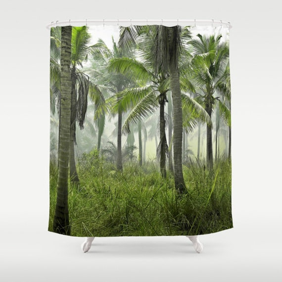 Jungle Palms Shower Curtain, Tropical Forest Bathroom, Jungle Home Decor, Tropical Shower Curtain, Green Shower Curtain, Tree, Surf, Beach