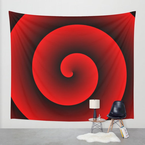 Black Red Large Wall Tapestry,Spiral, Office, Contemporary, Home, Privacy screen, Dorm Decor, Modern Decor, Vortex, Hypnotic Wall Art