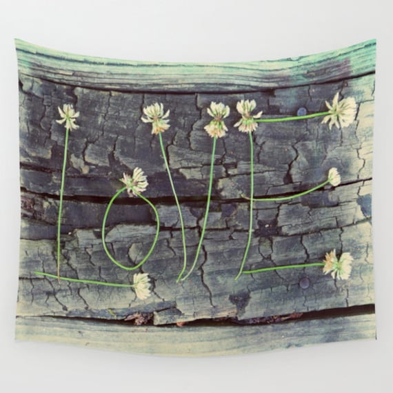 Love Wall Tapestry, Grey Teal Wall Art , Nature Fine Art Photography, Modern, Home, Text Tapestry, Flowers, Dorm, Office, Dreamy, Wood