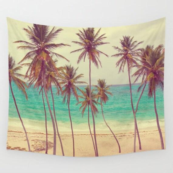 Tropical Beach Wall Tapestry, Palm Trees Large Size Wall Art, Fine Art Photography, Modern, Dorm, Nature, Ocean, Beach Hut Decor, Coastal