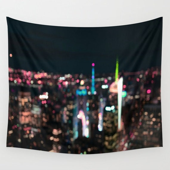 New York Manhattan Time Square Wall Tapestry, Wall Art, Bokeh, City Light, Dorm, Office, Urban,Modern,Architecture Art, Visionary, Landscape