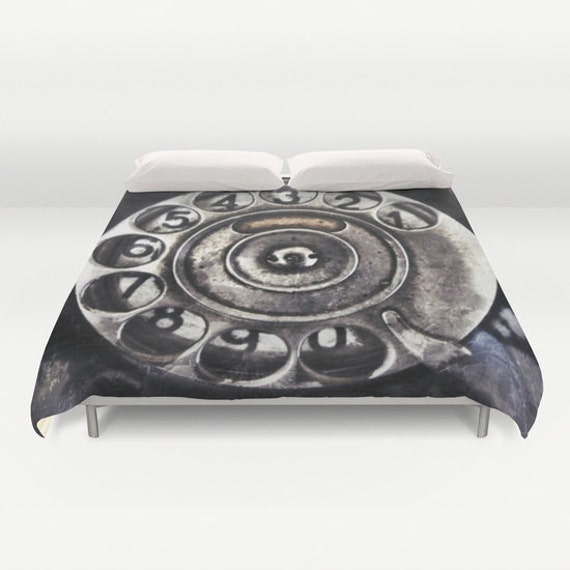 Call Me Duvet Cover, Black Retro Decorative bedding, unique design, Old Phone Dial, Dorm, Noir Bedroom, Goth, Steampunk, Metal, Numbers