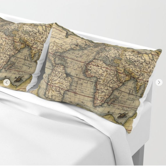Antique World Map Pillow Shams Set of 2, Pillow Cover, Ancient Map Sham, Antique Map, Dorm, old world map Decor, vintage Map bedroom