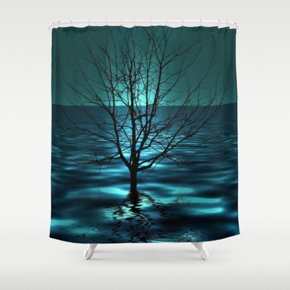 Tree in Ocean Shower Curtain, Bathroom, Aqua Blue Home Decor, Nautical Photo Shower Curtain, Teal Shower Curtain, Nature, Dorm, Surf, Beach