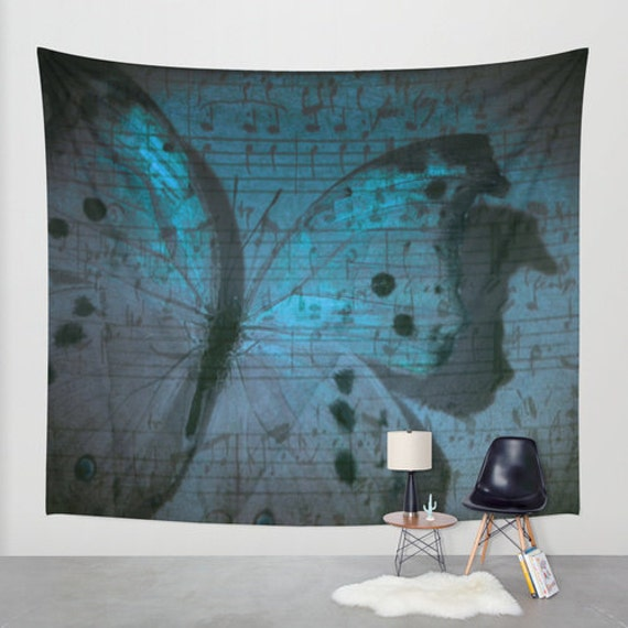 Butterfly Midnight Symphony Wall Tapestry, Electric Blue, Music Note Home Decor, Visionary Art, Moonlight, Dorm, Office, Beach, Botanical