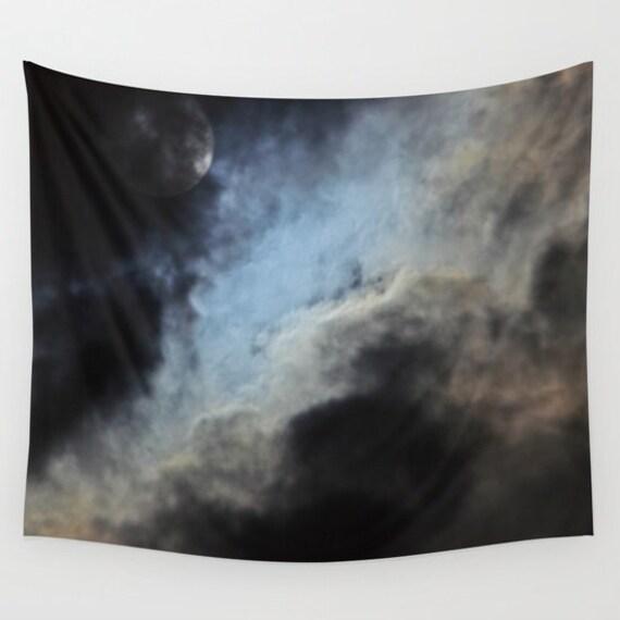 Moonlight Shadow Wall Tapestry, Moon, Fantasy, Night Sky Home Decor, Nature Tapestry, Cloudy Night Tapestry, Dark, Super-moon, Dorm, Office