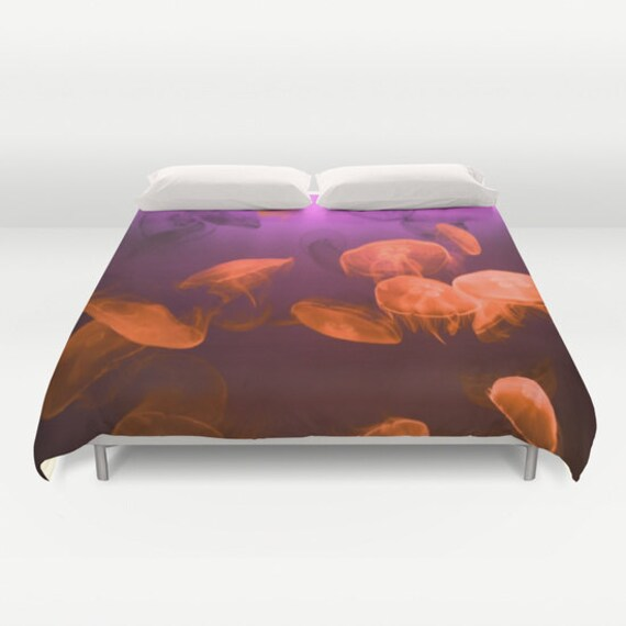 MOON Jellyfish Duvet Cover, Ocean Decorative bedding, Red Purple Bedding, Nautical Decor, Coastal bedroom, Surf, Water, Underwater, Vivid