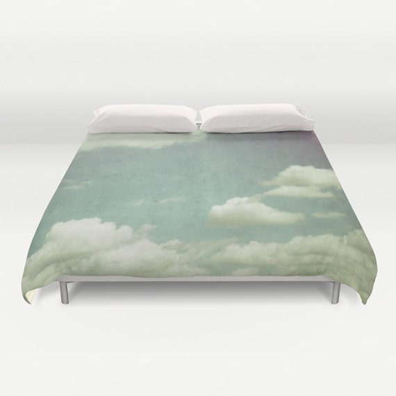 Cloudy Sky Duvet Cover, Cloud Decorative bedding,Blue Bedding, beach, bedroom, blanket, wedding gift, dreamy, whimsical, Aqua Blue, White
