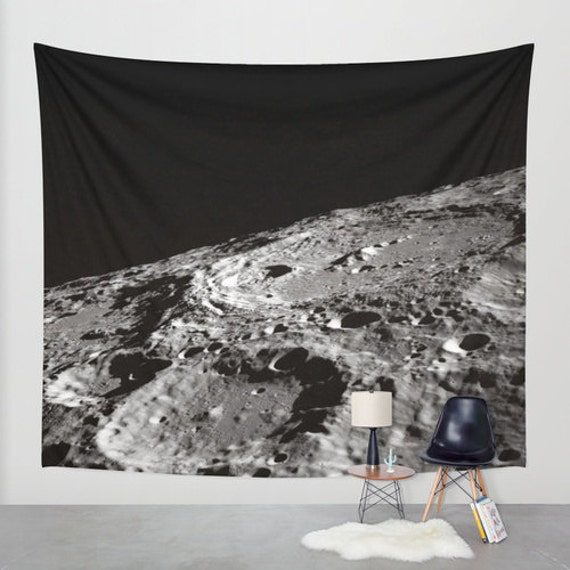 Moon Wall Art Tapestry, Space, Black White Wall Art, Nature, Space Home Interior, Moon Landscape, Office, Dorm, Moon Craters, Lunar Crater