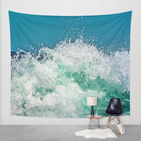 Ocean Waves Tapestry, Nautical Tapestry, Coastal Large Wall Decor, Surf Photo, Dorm, Office, Aqua Blue Wall Art, Nature Tapestry, Beach