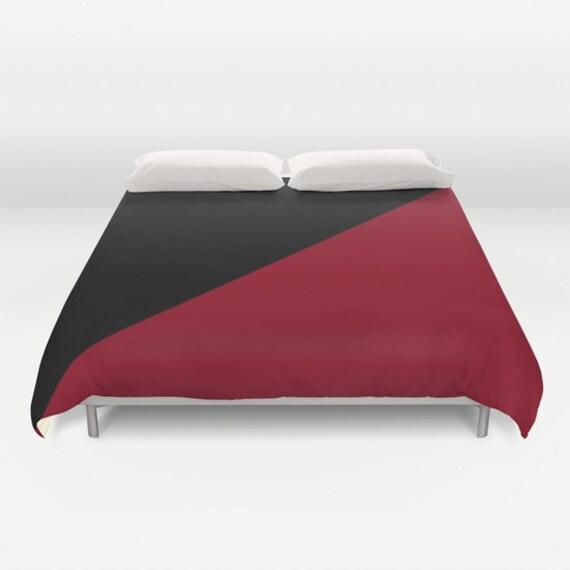 Black Burgundy Duvet Cover, Modern Duvet Cover, Masculine, Black Dark Red Bedding, Decorative Bedding, Contemporary,Graphic Design Decor