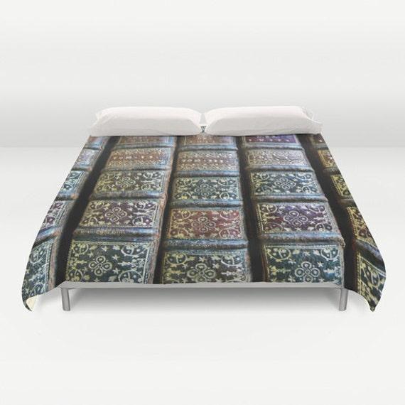 Old Books Duvet Cover, Book Decorative bedding, unique design, library, litreture, Dorm bedroom, Antique Book Bedding, Vintage Book bedding