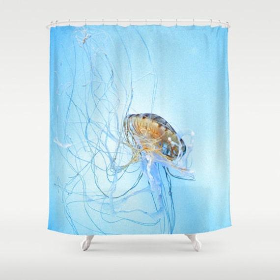 Jellyfish Shower Curtain, Ocean Blue Bathroom, Aqua Blue Home Decor, Nautical Photo Shower Curtain, Nature Shower Curtain, Surf, Underwater
