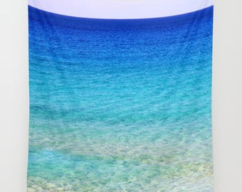 Calm Waters 2 Tapestry, Nautical Tapestry, Coastal Large Wall Decor, Photo Tapestry, Aqua Blue, Nature Tapestry, Beach, Ocean, Dorm, Office