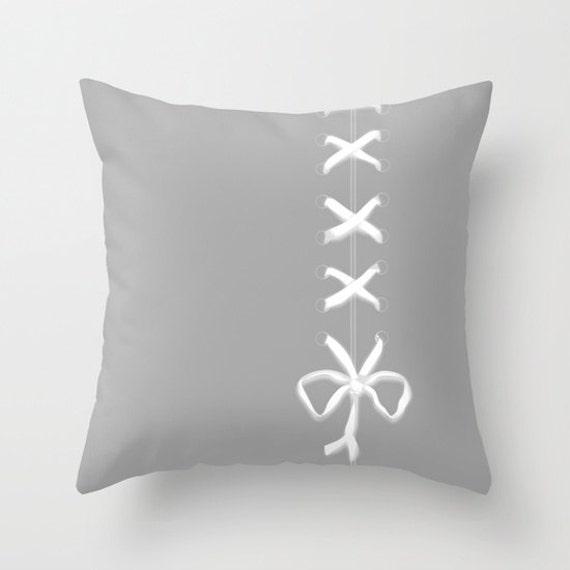 Grey Throw Pillow, White Ribbon Print Pillow, Laces Pillow, Decorative Pillow Cover, Boudoir Home Decor, Dorm, Office, Cute Pillow, Unique