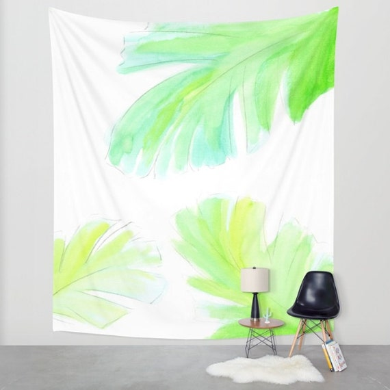 Banana Leaf Tapestry, Leaves, Dorm, Nature, Art, Office Zen, Calm, Tropical Large Wall Decor, Watercolor Tapestry, Green, Sea Blue, Fresh