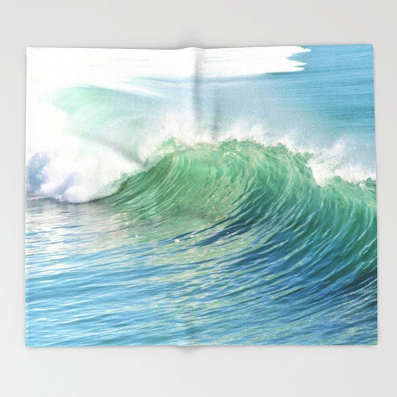Waves Throw Blanket, Super Soft, Waves Home Decor, Ocean, Free Shipping, Blue White Blanket, Office Throw,Surf, Coastal, Beach,Dorm Blanket