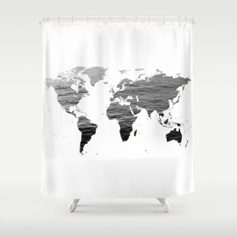 Ocean Texture Map Shower Curtain Black White Bathroom Home Etsy