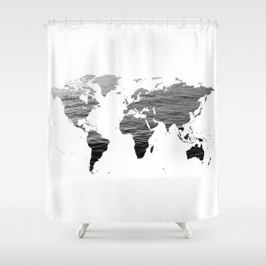 Ocean Texture Map Shower Curtain Black White Bathroom Home