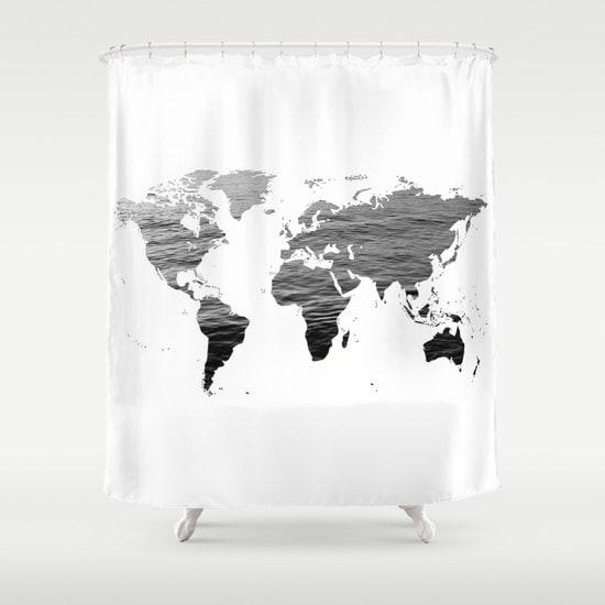 Ocean Texture Map Shower Curtain Black White Bathroom Home Decor World CurtainEducational Dorm