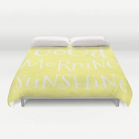 Good Morning Sunshine Duvet Cover, Made to Order, Text Bubble Bedding, Lemon Yellow Decorative Bedding, Love, Inspirational, Happy, Fresh