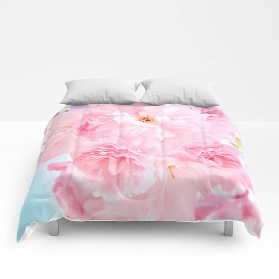 Soft Blue Sky with Pink Peonies Comforter, Pink Bedding, Flower bedding, Unique design, Full, Queen, King, Dorm, Floral, Wedding, Feminine