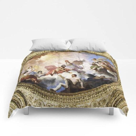 Fresco Comforter, Made to Order, Whimsical Bedding, Ceiling Painting Bedspread, Decorative, Mythological, Gods, Bedroom, Dorm, Blanket