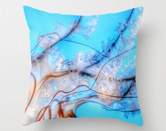 Aqua Blue Throw Pillow, Jellyfish Pillow, Ocean Blue, Dorm, Office, Pacific Sea Nettle, Nature Cushion, Nautical Pillow, Surf, Underwater