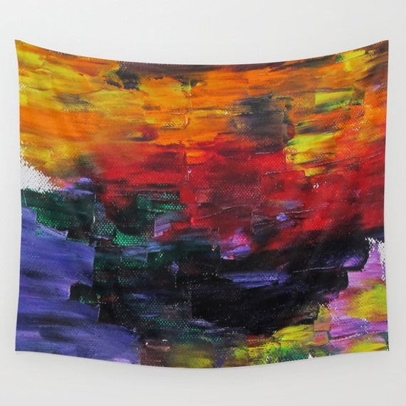 African Sunset Wall Tapestry from my Original Oil Painting, Visionary Art, Surreal, Sunset, Dorm, Office, Dream Home Decor, Contemporary