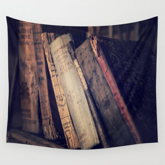 Old Books Tapestry, Antique Book Tapestry, Book Large Wall Decor, Library Photo, Dorm, Office Decor, Office Tapestry, Vintage Books Decor